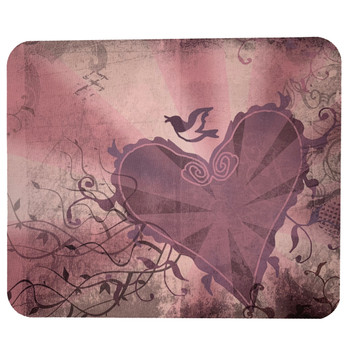 Computer Mouse Pad Desk Accessory Mauve Pink Heart and Swallow