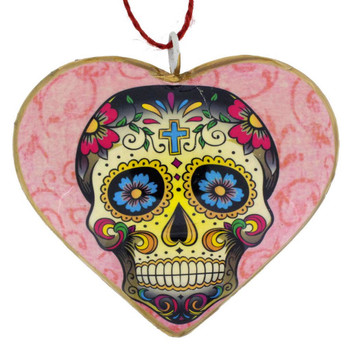 Sugar Skull Day of the Dead Heart Christmas Holiday Ornament back side of ornament.