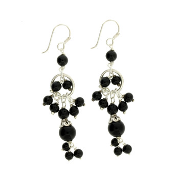 Long Black Onyx Sterling Silver Dangle Earrings