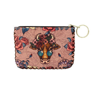 Floral Cow  with Sunglasses Coin Purse