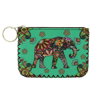 Colorful Elephant and Floral Design Coin Purse