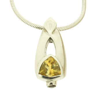 Faceted Trilliant Cut Citrine Sterling Silver Pendant