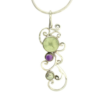 Sterling Silver Green Quartz Amethyst and Pearl Pendant