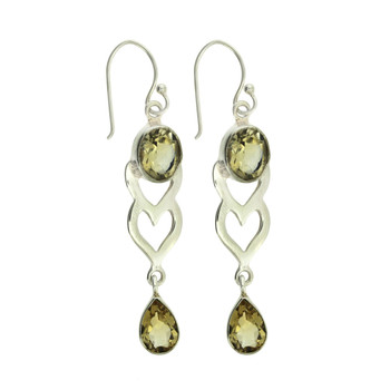 Yellow Faceted Citrine Heart Dangle Earrings Sterling Silver