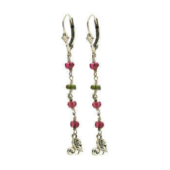Garnet and Peridot Earrings Dangle Sterling Silver