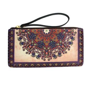 Floral Bohemian Design Wristlet Wallet Bag