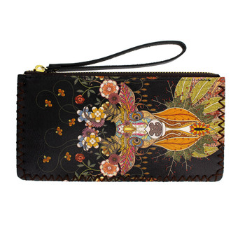 Colorful Floral Deer Design Wristlet Wallet Bag