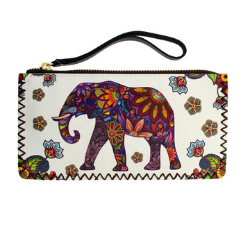 White Wristlet Wallet with Floral Bohemian Elephant Design