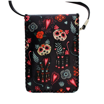 Colorful Day of the Dead Skull Cat Small Crossbody Purse