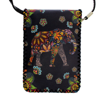 Black Small Crossbody Purse with Colorful Floral Elephant Design Bohemian Style