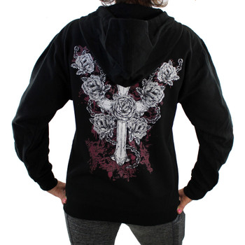 Black Fleece Zipper Hoodie Sweatshirt Cross and Roses