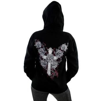 Black Fleece Zipper Hoodie Sweatshirt Cross and Roses