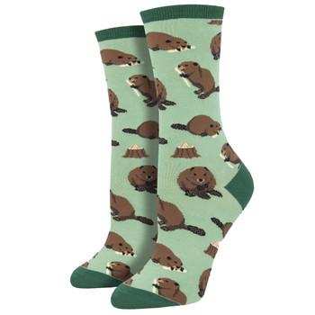 Women's Crew Socks Dam It Beaver Rodent Animal Green