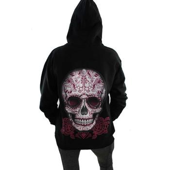 Black Fleece Pullover Hoodie Sweatshirt Day of the Dead Skull and Roses