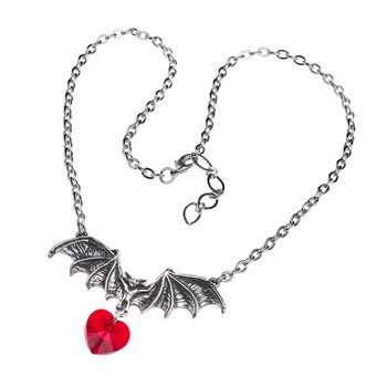 Alchemy Gothic Vampire Love Heart Pendant Necklace Pewter Jewelry P802