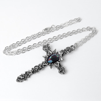 Alchemy Gothic Ivy Cross Pendant Necklace Pewter Jewelry P804
