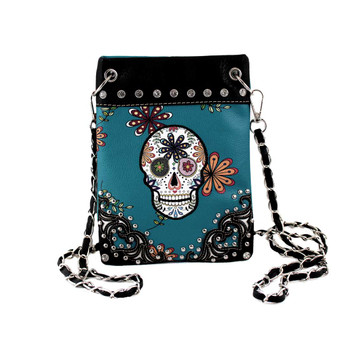 Turquoise Blue Day of the Dead Crossbody Purse with Rhinestones