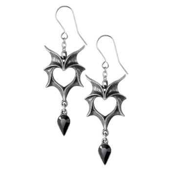 Alchemy Gothic Heart Shaped Love Bats Dangle Earrings Pewter Jewelry E425