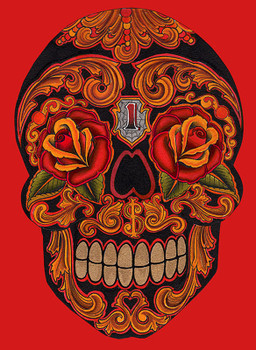 New School Dia by Lil Chris Canvas Giclee Art Print Day of the Dead Sugar Skull