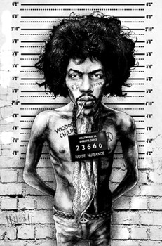 Jimi Hendrix Mugshot by Marcus Jones Screaming Demons Canvas Giclee Art Print