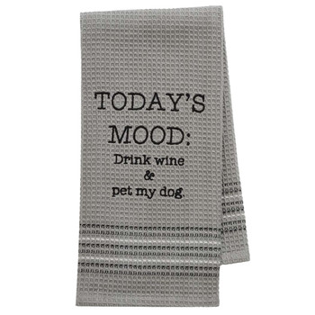 Drink Wine and Pet My Dog Kitchen Dishtowel