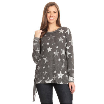 TParty Fashion Women's Star Print Lace Up Sides Long Sleeve Top