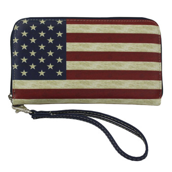 USA Flag Faux Leather Zip Around Wallet Wristlet Clutch