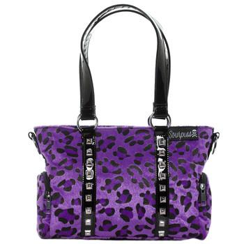 Sourpuss Purse Mini Leda Purple Leopard Stud Crossbody Shoulder Bag