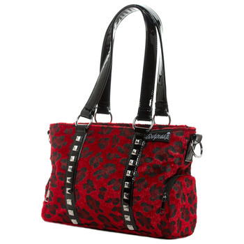 Sourpuss Purse Mini Leda Red Leopard Stud Crossbody Shoulder Bag