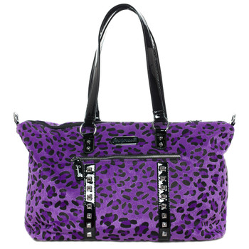 Sourpuss Purse Leda Purple Leopard Stud Crossbody Shoulder Travel Bag