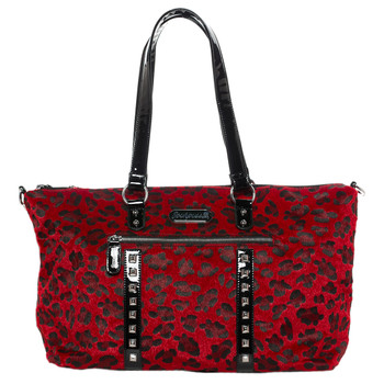Sourpuss Purse Leda Red Leopard Stud Crossbody Shoulder Travel Bag