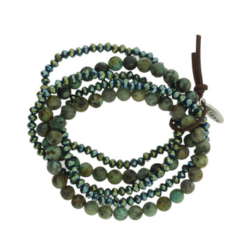 Five Green Strands Semi Precious Stone and Crystal Beaded Elastic Bracelets
