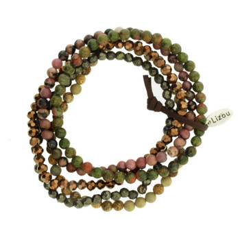 Five Brown Green Pink Strands Semi Precious Stone and Crystal Beaded Elastic Bracelets