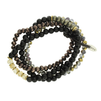 Four Black Onyx, Bronze, Brown Strands Semi Precious Stone and Crystal Beaded Elastic Bracelets
