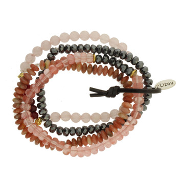 Four Rose Quartz, Hematite Strands Semi Precious Stone and Crystal Beaded Elastic Bracelets