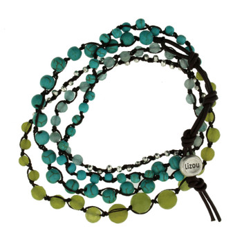 Five Brown, Green, Gray Strands Semi Precious Stone Crystal Beaded Elastic Bracelets