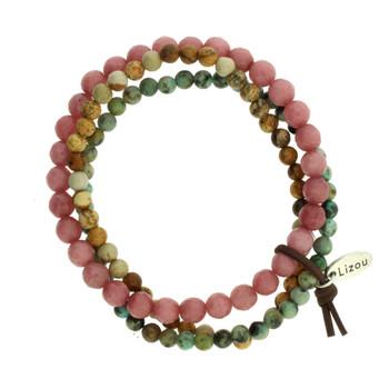 Green, Tan, Pink Strands Semi Precious Stone Beaded Elastic Bracelets