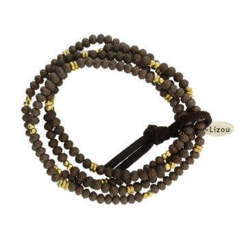 Four Brown Strands Semi Precious Stone Beaded Elastic Bracelets