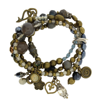 Multi Beaded Crystal, Metal, and Semi Precious Stone Beaded Charm Elastic Bracelets