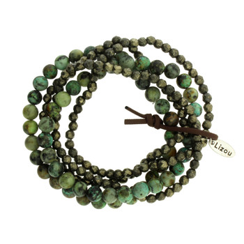 Five Brown and Green Strands Semi Precious Stone Crystal Beaded Elastic Bracelets