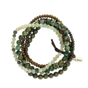 Five Brown, Green, Gray Strands Semi Precious Stone Crystal Beaded Elastic Bracelets