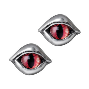 Alchemy Gothic Demon Eye Stud Earrings Pewter Jewelry E422