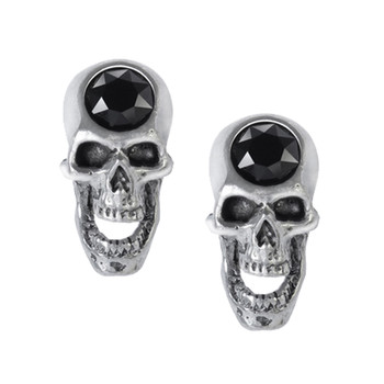 Alchemy Gothic Screaming Skulls Stud Earrings Pewter Jewelry E427