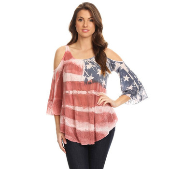Women's American Flag Print 3/4 Sleeve Shirt with Cold Shoulder