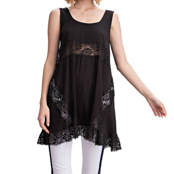 Women's Black Sleeveless Relaxed Fit Tank Top Tunic Lace Detail