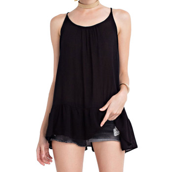 Women's Black Light Flowy Semi Sheer Tank Top Tunic