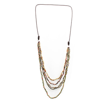 Long Layered Beaded Gemstone Necklace Semi-Precious Stones