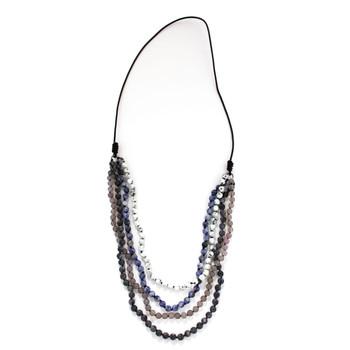 Four Strand Long Layered Beaded Gemstone Necklace Semi-Precious Stones