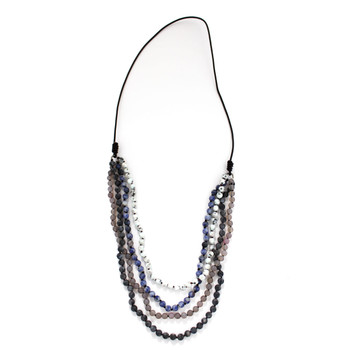 Four Strand Long Layered Beaded Gemstone Necklace Semi-Precious Stones