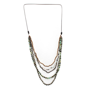 Five Strand Long Layered Beaded Gemstone Necklace Semi-Precious Stones